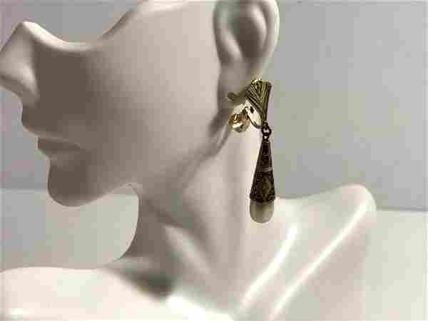 Vintage Gold Black pearl Damascene Teardrop Dangle Clip