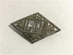 Vtg Art Deco Sterling Silver & Marcasite Initial LIW