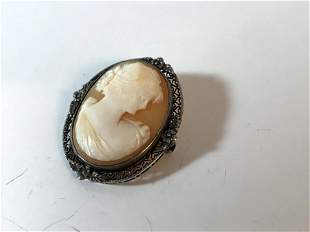 Beautiful Antique 14K White Gold Cameo Pin/Brooch 1
