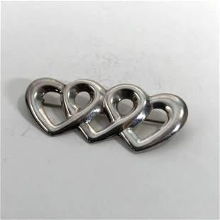 Sterling Silver Su Art Nouveau Three Hearts Brooch Pin