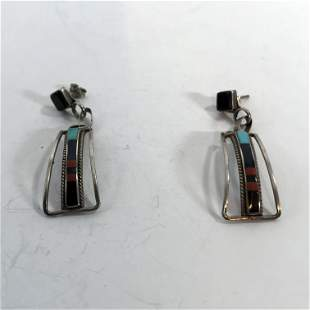 Native American Vtg Zuni Sterling Silver Turquoise
