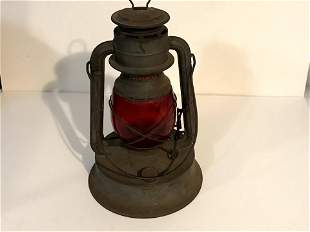 Antique Dietz Bell Systems Lantern Etched Red Globe
