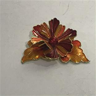 Vintage Germany Enamel Flower Brooch Pin Jewelry