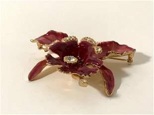 Alana Stewart Orchid Flower Brooch Pin Enamel &