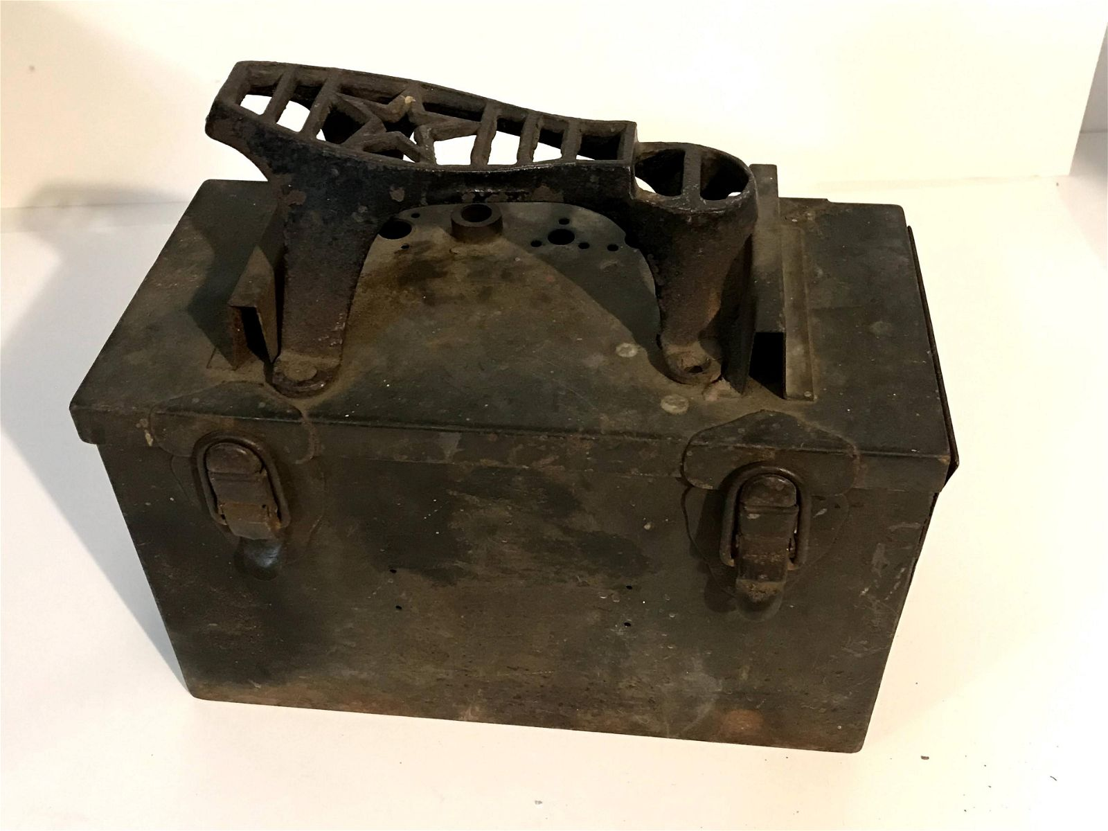Trench Art WW2 US Army .50 Cal Ammo Box Shoe Shine