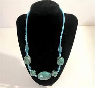 "Vintage Turquoise Stone Beaded Necklace 18 """