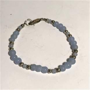 Sterling Silver Blue Bead Bracelet