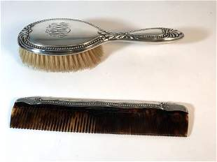 Sterling Silver Comb And Brush Set
