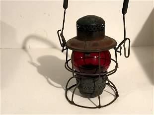 Vintage Adlake Kero Red Globe Railroad Lantern Nice!!!