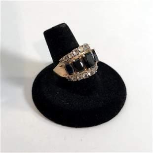 Vintage STS Sterling Silver Golg Clad Black Onyx Ring