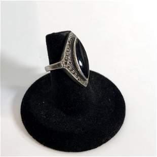 Vintage Sterling Silver Black Onyx Marcasite Ring sz 6