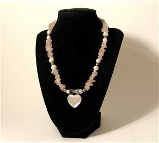 Vintage Sterling silver Rose Quartz and Pearl Heart