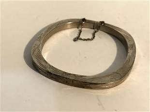 Bangle spring hinged Bracelet Sterling Silver 925