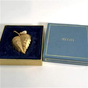 Large Vintage Avon Gold Tone and Pearl Opening Heart