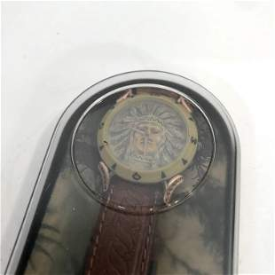 Vintage Indian DeJuno wrist watch w/ leather band New