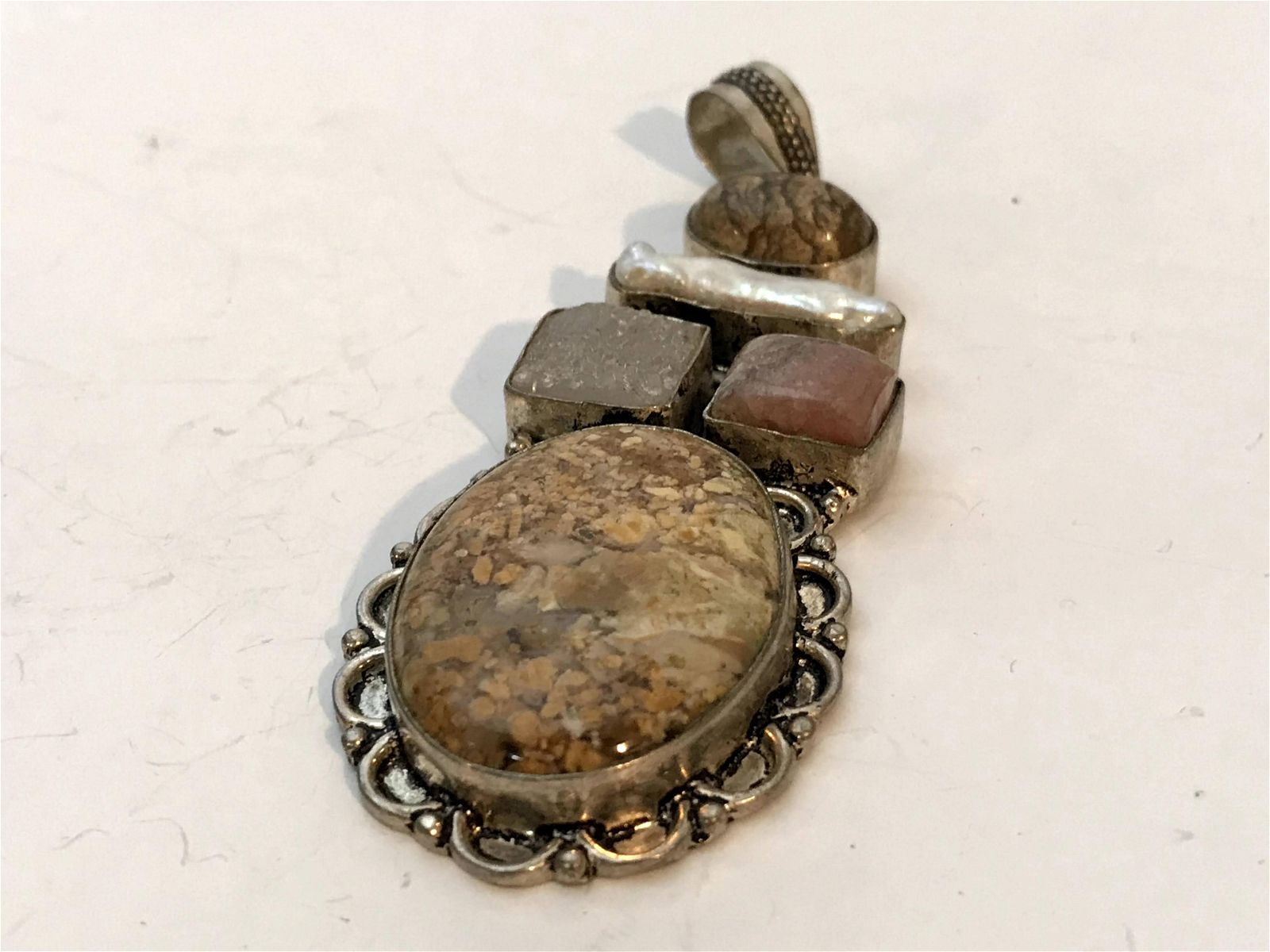 Vintage Navajo Gemstone Sterling Silver Pendant Pin