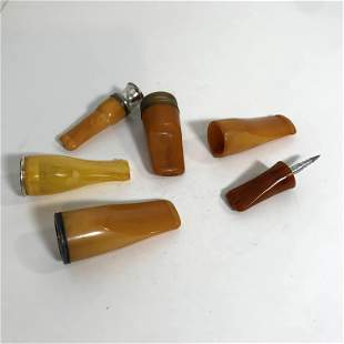 Lot of 6 Vintage Amber Cigarette holders Bakelite