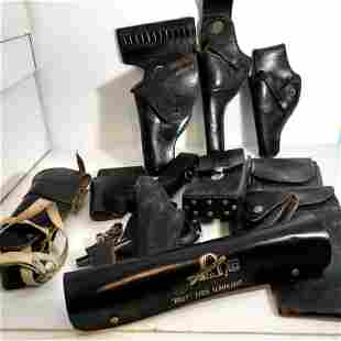 Vintage lot Of Gun Holsters and leather Items Smith &
