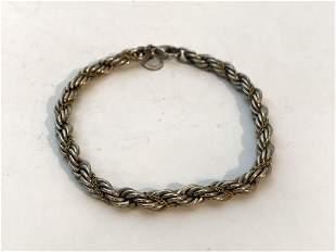 Tiffany & Co. Sterling Silver-18K Gold Rope Bracelet 7