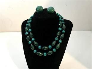 Vintage Trifari Green Graduated Bead Necklace Earrings