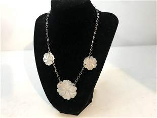 Beautiful Vintage Mother Of Pearl Necklace & Carved