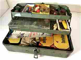 Vintage My Buddy Tackle Box Filled With Lures and Reels