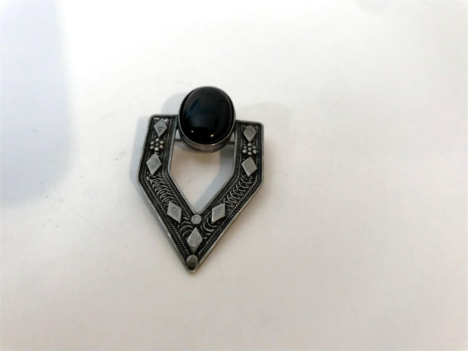 Vintage Art Deco Style Sterling Silver Marcasite Onyx
