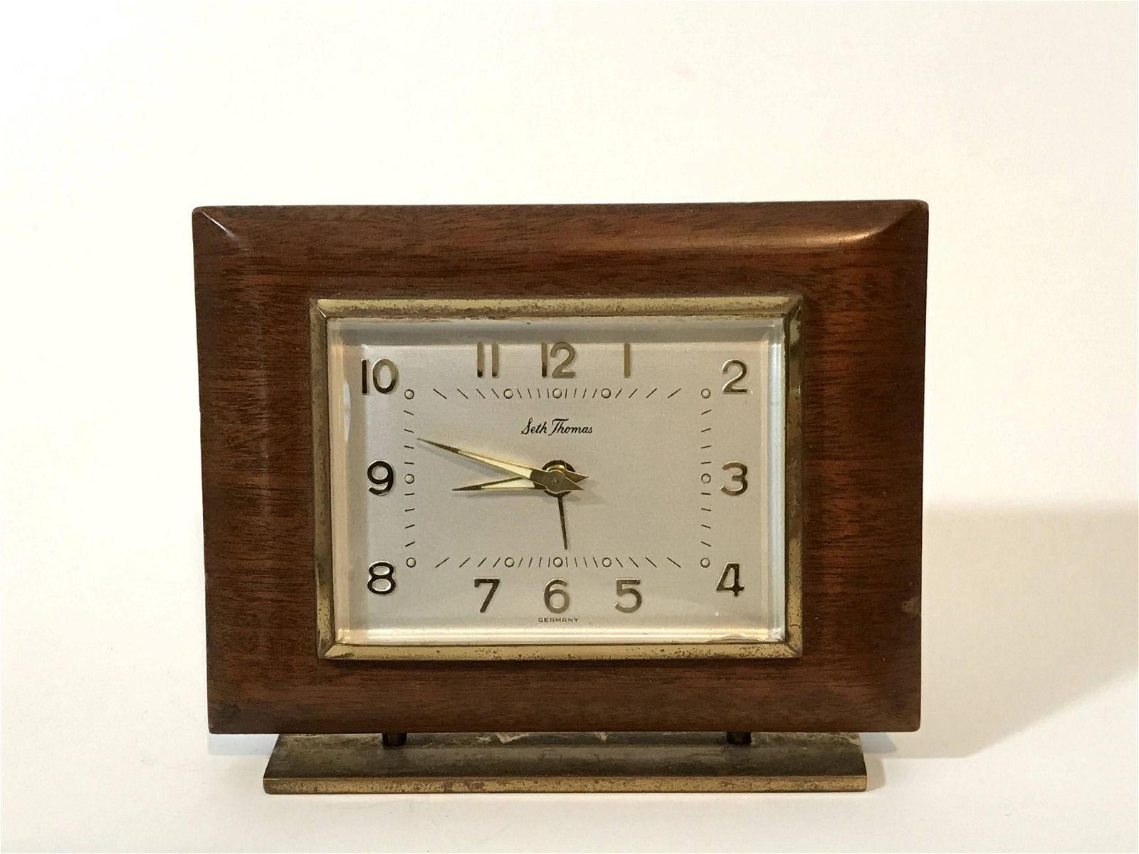 Vintage Seth Thomas Small Alarm Clock 1950's Brown
