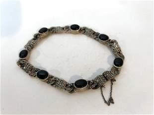 925 Sterling Silver - Vintage Black Onyx & Marcasite