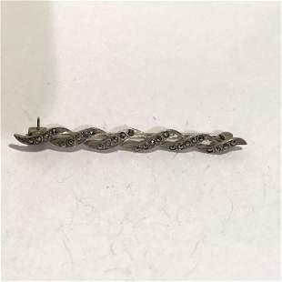 "Vintage Marcasite Sterling Silver 2 1/2"" Brooch Pin"