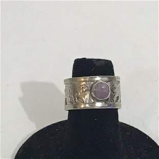 Nice Sterling Silver Ring Amethyst Ring 6 3/4 Nice !!!