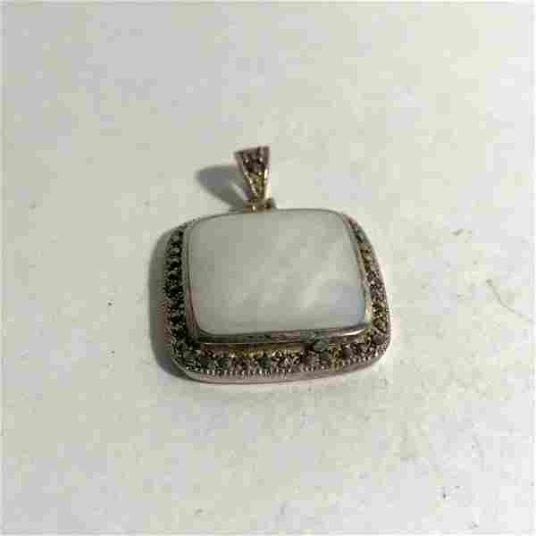 925 Sterling Silver - Large White Gemstone & Marcasite