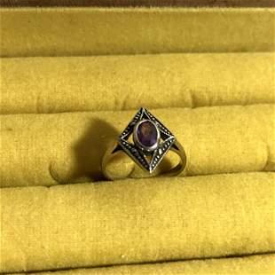 Vintage Sterling Silver 925 Purple Amethyst Marcasite