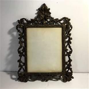 Vintage Cast Iron Ornate Gold Gilt Victorian Picture
