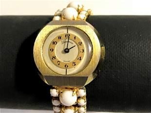 RARE VTG Lucerne Wrist Watch White Lucite beads Works