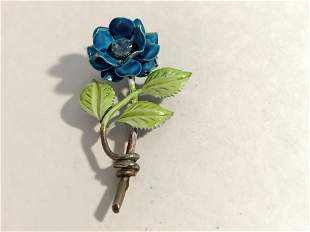 VTG Brooch Pin Flower Enamel Blue Green Rhinestone