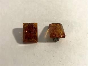 Vintage Sterling 925 Silver Genuine Amber Clip On