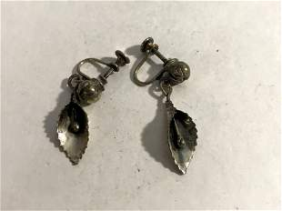 Vintage sterling silver dangle earrings, screw backs