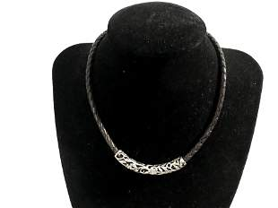 Vintage Filigree 925 Sterling Silver and Leather Choker
