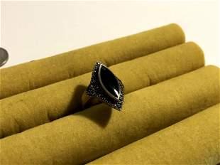 925 Sterling Silver Black Onyx & Marcasite Gemstone