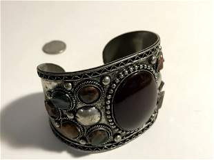 Vintage Large silver cuff bracelet with Gem stones
