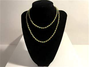 """Vintage green beads and Gold Tone Bead Necklace 14"""""""