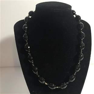 "Vintage Swarovski Crystal Onyx Sterling 18"" Necklace"