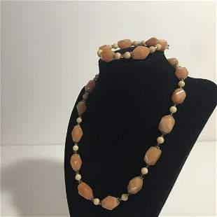 "Swarovski Crystal Pink Sterling 18"" Necklace & Bracelet"