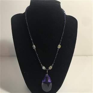 Vintage Purple Sterling Swarovski Crystal Necklace