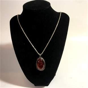 "Vintage Sterling Silver Amber 22"" Necklace Pendant"