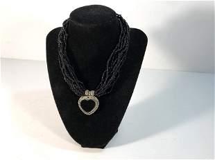 Vintage Black Beaded Silver Tone Onyx Heart Pendant