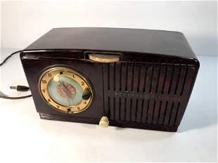Vintage General Electric Brown Bakelite Radio Alarm