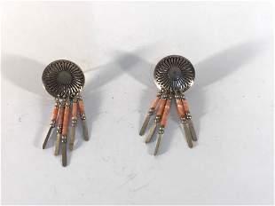 STERLING Silver 925 Native Pink Gem Fan Dangle Drop