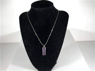 Nice Sterling Silver Amethyst Pendant and Necklace